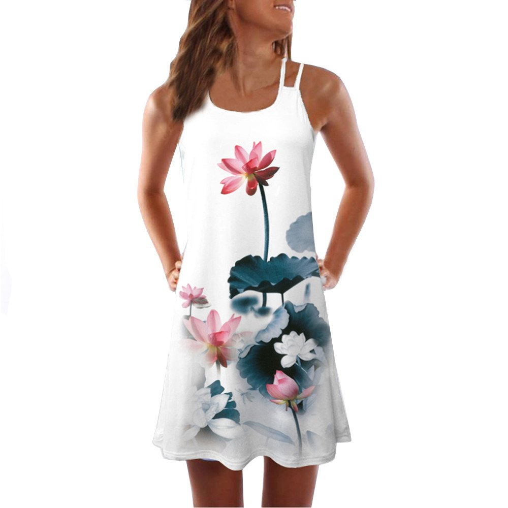 F/_Gotal Womens Dresses Summer Casual Plain Tank Dress Sleeveless Beach Sundress Party Cocktail with Pockets
