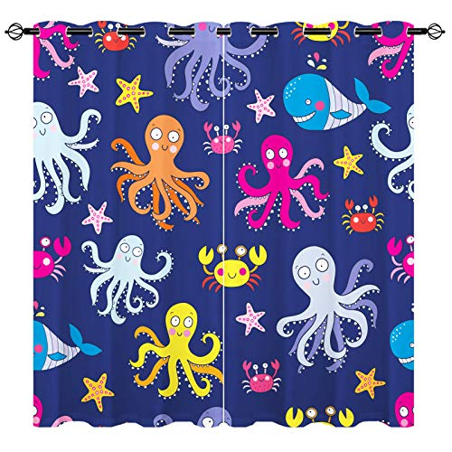 Octopus Curtains,Cute Whale Starfish Crab Octopus Cartoon 3D Pattern Grommet Blackout Curtains 2 Panels Set for Boys Girls Baby Cartoon Curtains 104'x63' Purple