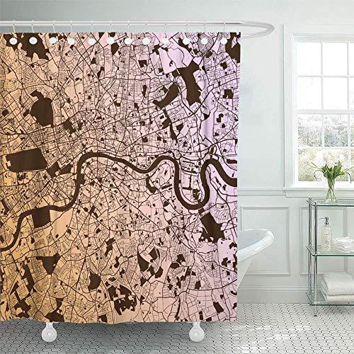 GABRI Duschvorhang City London zweifarbige Karte Kunstdruck Gliederung bereit für Farbwechsel Old River Urban Duschvorhang-Set