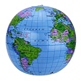 Shappy Globale 2 Packung 16 Zoll Aufblasbare Globus Welt Globus Drdkugel für Lehren, Spielen und Party, PVC Material -