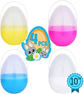 Totem World 4 Jumbo 10-Inch Easter Egg with Handle - Perfect Size For Holding Toys, Candy Bars, And Stuffed Animals - Easy To Open, Tough To Break - Great As Party Favors And Easter Basket Stuffer