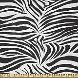 ABAKUHAUS Estampa Cebra Tela por Metro, Estampa Animal de Cebra Rayas Naturaleza Ilustración Simple Vida Salvaje, Microfibra Decorativa para Artes y Manualidades, 1M (230x100cm), Negro