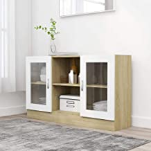MOUYOU Furniture, Display Cabinet for Living Room Bedroom Kitchen Medicine Cabinet with 2 Compartments and 2 Doors, 120 x ...