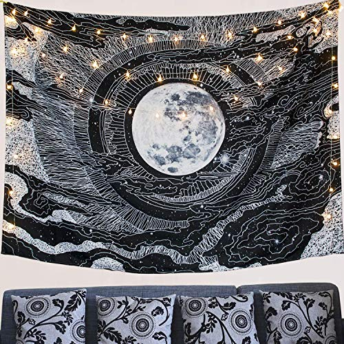 """Kokmn, arazzo indiano mandala Hippie da parete, arazzo da parete con arte natura, decorazione per la casa, uso come tovaglia, soggiorno, camera da letto, Luna, 51.2"""" x 59.1"""""""
