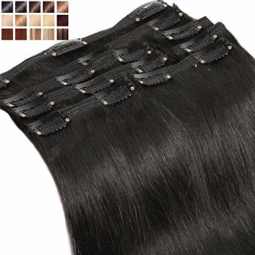Extension Capelli Veri Clip Double Weft Testa Piena 8 Fasce Folte Volumizzante Remy Human Hair Lunghi Lisci Naturali Umani (35cm 120g 1 Nero)