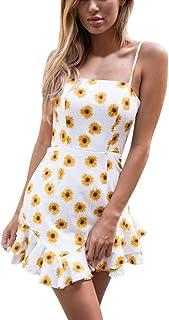57a24a20c9 Uscharm Spaghetti Strap Dress Ruffle Womens Floral Print Sleeveless Bodycon  Evening Party Short Mini Dress