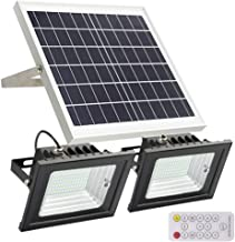 Solar Flood Lights Outdoor,JPLSK Remote Control Dual 112 LEDs 15W Solar Panel IP65 Waterproof Solar Powered Flood Light for Patio Garage Garden Driveway Yard Statute Community Sign