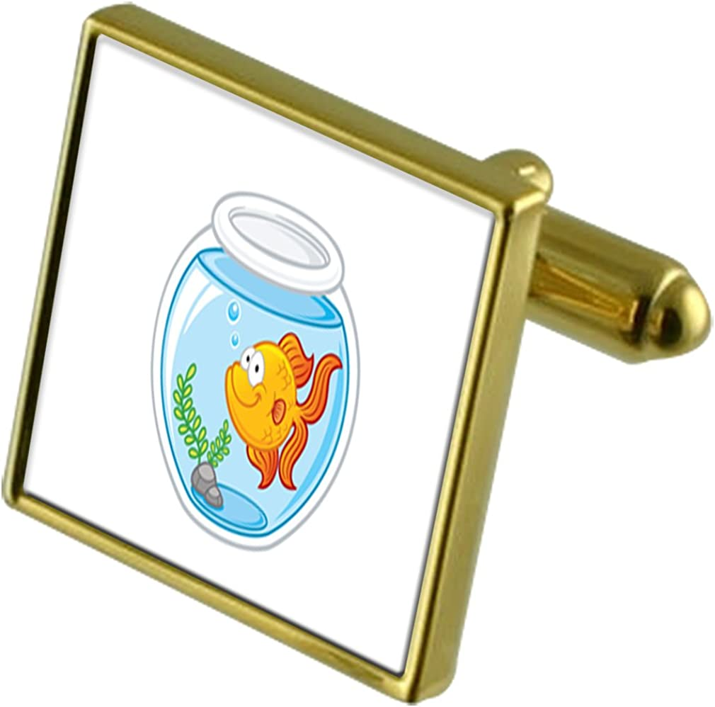 Select Gifts Gold Fish Bowl Tie Clip Crystal New arrival depot Cufflinks Gold-Tone