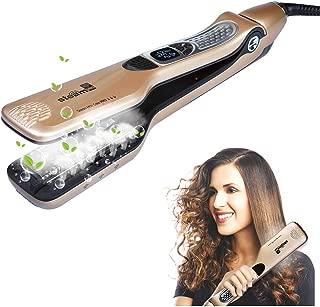 iGutech Planchas de Pelo de Vapor,Plancha de pelo de cerámica turmalina y spray, acción iónica con ajustes de temperatura, anti escaldadura