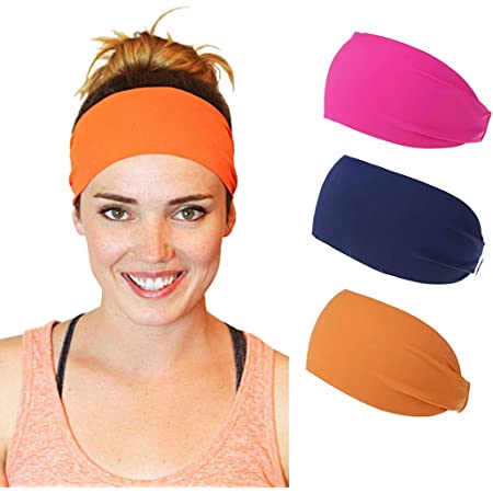 NAVY BLUE STARS Spandex Headband-Bolder Wider Stretch Hair Bands-Running-Yoga