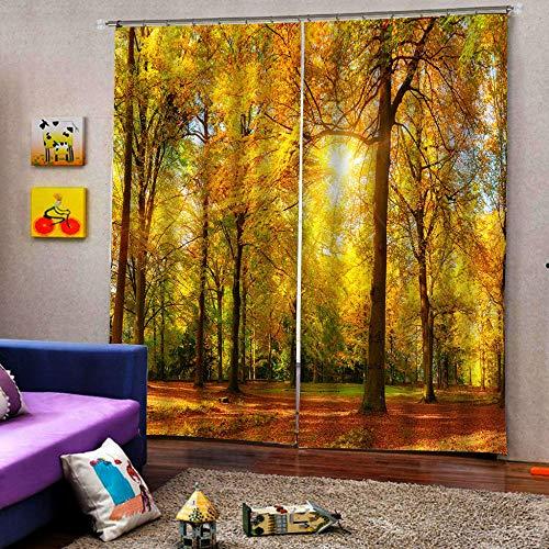 3D Isolierung Schattierung Vorhänge Herbstwald 2 Panel fit Kinder Vorhänge Für Wohnzimmer Schlafzimmer Blackout Kinderzimmer Vorhänge 150x166cm