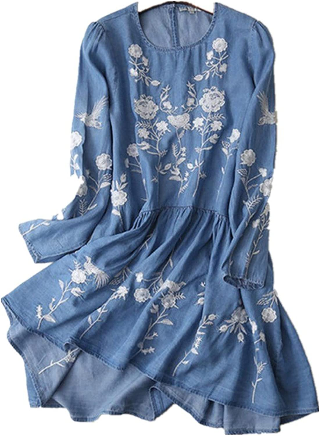 QZZNcUVa Spring Summer Women Long Sleeve Vintage Ethnic Floral Embroidery Jeans Dress Casual Jeans Robe