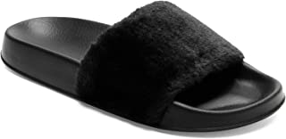 Spesoul Womens Furry Slippers Open Toe Indoor Outdoor House Casual Flat Slides Sandals
