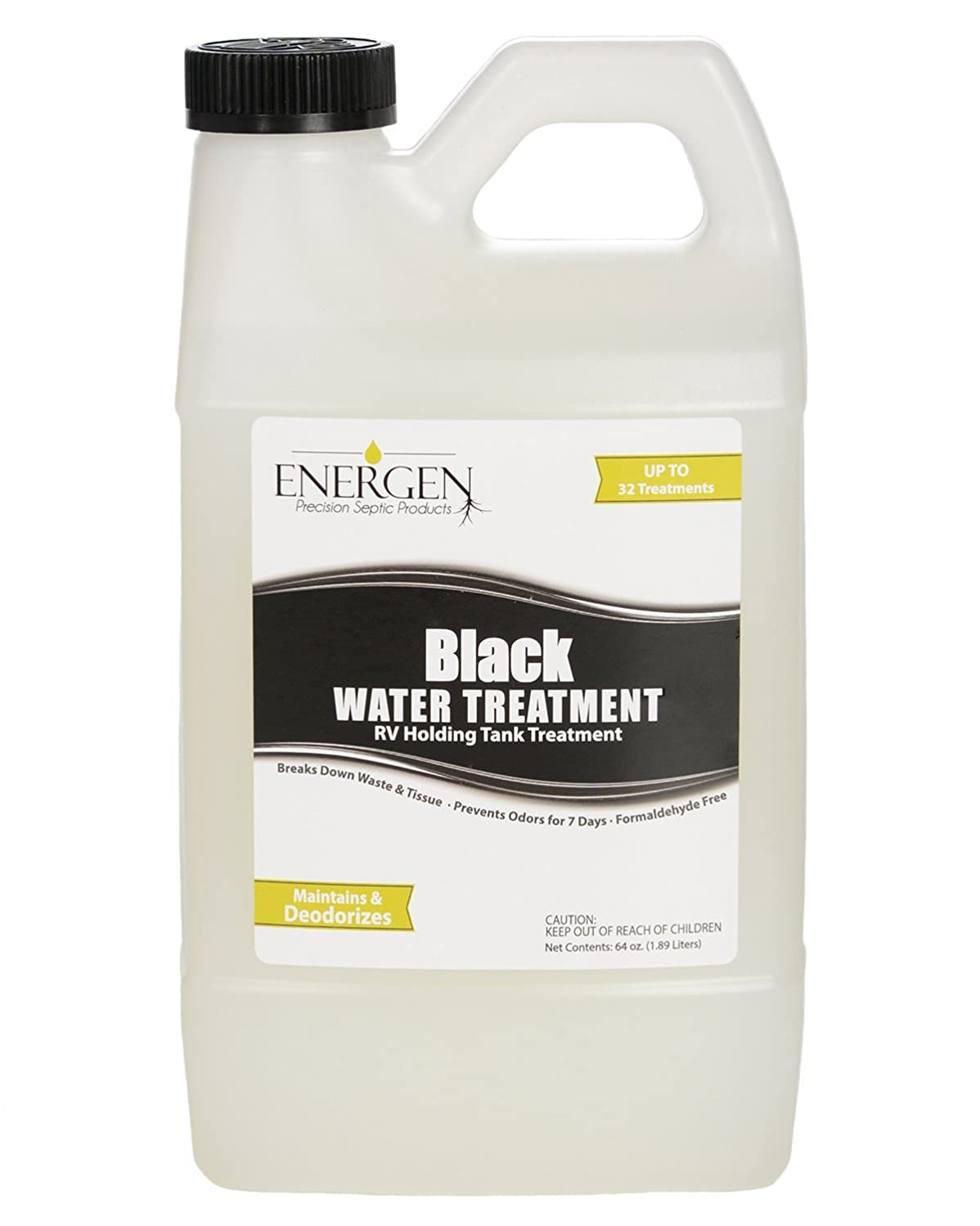 Energen Black Water Septic Tank Treatment - Deodorizing and Waste Digesting - RV Septic Tank Deodorizer - 64 Ounce