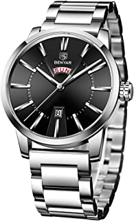 BY BENYAR - Stylish Wrist Watch for Men, Genuine Stainless Steel Strap, Perfect Quartz Movement, Waterproof and Scratch Resistant, Analog Chronograph and Mechanical Business Watches, Best Mens Gift.