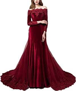 Women's Vintage Long Sleeves Velvet Evening Dresses with Detachable Train Lace Appliques Prom Gown