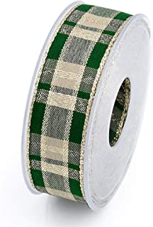 Wired Plaid Ribbons for Ribbon Bow Christmas Tree Garland Crafts Gift Wrapping 10.94 Yards 1 Inch 2.5CM (Green)