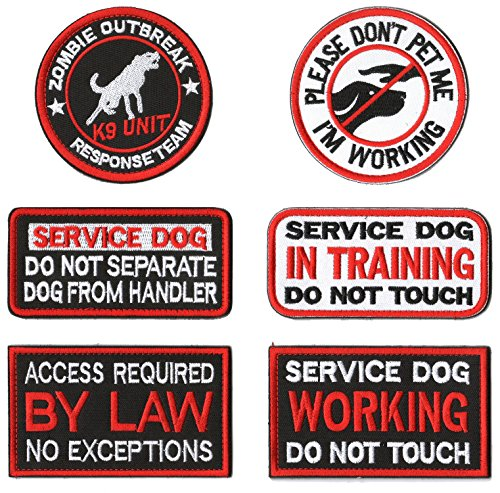 WZT 6 Pieces Service Dog Working Do Not Touch Military Tactical Morale Badge Hook & Loop Fastener Patch
