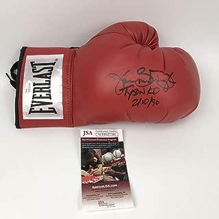 Autographed/Signed James Buster Douglas Tyson KO 2-10-90 Red Everlast Boxing Glove JSA COA