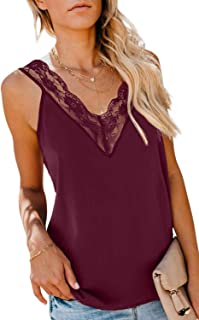 Womens Sexy V Neck Lace Cami Tank Tops Strappy Summer Flowy Sleeveless Shirts Loose Tunic