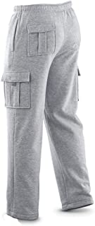 Mens Long Cargo Pants Sweatpants Truck Fleece Lined with Elastic Waistband, Fleeced Cargo Pants S-XXL