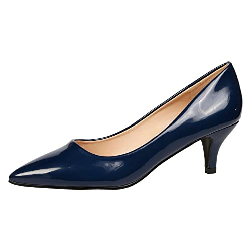 running shoes professional sale vast selection Navy Patent Court Shoes: Amazon.co.uk