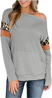 OULSEN Womens Fashion Leopard Splice Sweatshirt Autumn Winter Casual Loose Crew Neck Long Sleeve Pullover Blouse Top