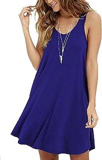VIISHOW Women's Sleeveless/Short Sleeve Casual Loose T-Shirt Dress (XL, 1Royal Blue)