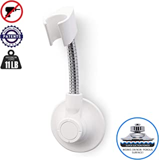 BathBeyond Shower Head Holder - Flexible Shower Head Holder Adjustable Vacuum Suction Cup Shower Head Wall Mount Holder for Hand Held Shower Head (Adhesive Sticker Provided)