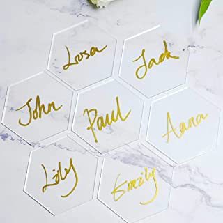 ATOMZING 50PCS Clear Hexagon Acrylic Place Card Names for Wedding Party or Event Decor, Clear Acrylic Escort Cards for Table Hexagon Placecards Custom Name Settings Card