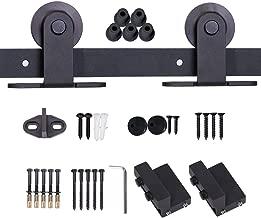 JUBEST Black Steel Sliding Barn Door Hardware Kit 6.6ft, for 36