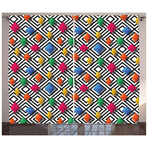 Muxiand Geometrische gordijnen, levendig gekleurde en 3D-vormgegeven diamant-edelstenen figuren op zwart-witte achtergrond voor woonkamer/slaapkamer-raam