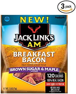 Jack Links A.M. Breakfast Bacon, Brown Sugar & Maple, 2.5 oz. Bag – Flavorful Ready to Eat Meat Snack with 11g of Protein, Made with 100% Real Bacon - Pack of 3