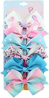 6Pcs Siwa Hair Bows for Girls,5 Inches Hair Bows for Girl Grosgrain Ribbon Hair Barrettes Accessories for Toddler