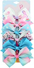 6Pcs Siwa Hair Bows for Girls,5 Inches Hair Bows Alligator Clips for Girl Unicorn Grosgrain Ribbon Hair Barrettes Accessories for Toddler Kids Girls