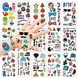 Konsait Tatouage temporaire Tatoo Étanche pour Enfants Fille garçons (15feuilles), 250 + Tatouages Mignonnes pour Enfant fête d'anniversaire Cadeau, Motifs différentes