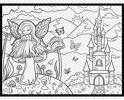 Amazon.com: Fairy Princess Coloring Page, Fairy Coloring Sheet, Fairy Tale  Fantasy Themed Jumbo Coloring Book For Kids And Adults: Handmade