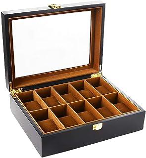 Caja para Relojes Madera Estuches Relojes con 10 Compartimentos Hombre Negro