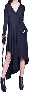 Idea2lifestyle Women's Extravagant Asymmetric Thumb Hole Maxi Dress Black