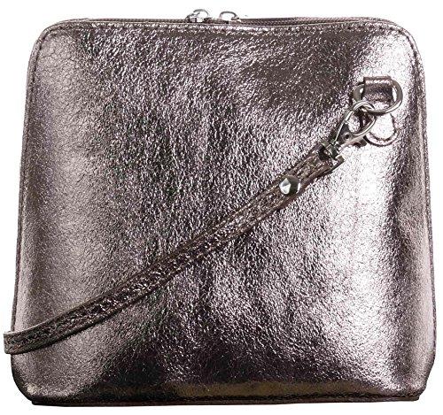 Primo Sacchi Damen Italienisches Leder Handgemacht Klein/Mikro über Leichensack oder Umhängetasche Handtasche Metallisch Bronze-