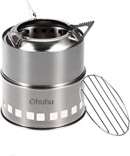 Ohuhu® Camping Stove/Backpacking Stove - Potable Stainless Steel Wood Burning Stove Picnic BBQ Camping