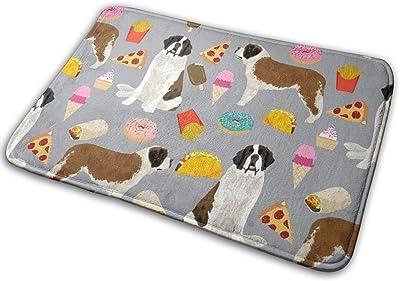 """Saint Bernard Dog Dogs and Junk Food Designs Tacos Fries Donuts - Grey_17772 Doormat Entrance Mat Floor Mat Rug Indoor/Outdoor/Front Door/Bathroom Mats Rubber Non Slip 23.6"""" X 15.8"""""""