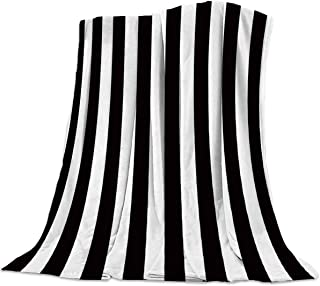 Seven Roses Luxury Throw Blanket for Couch/Office/Bedroom Luxury Throw Blanket for Couch/Office/Bedroom Black and White Horizontal Stripes 39