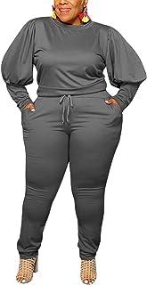 Aro Lora Women Plus Size Jogging Suit 2 Piece Outfits Puff Sleeve T Shirt Sweatpant Tracksuit Lounge Set