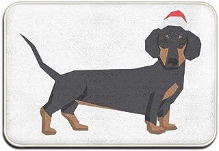 QLZX3YY Dachshund in Christmas Santa Hat Indoor/Outdoor Doormat for Home Furnishings Bathroom Decor Rug Etc 15.75
