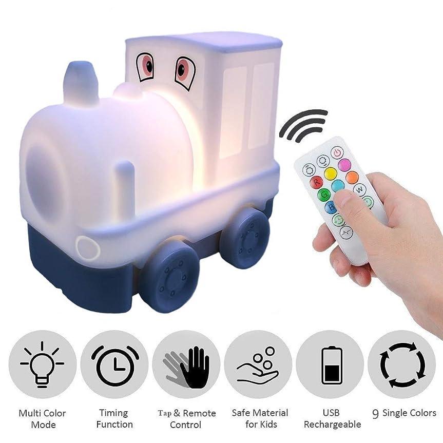 メロドラマゴシップやろうTianhaixingベッドサイドランプ、マルチカラー変換ソフトシリコーンLED夜光、リモコンとUSB充電テーブルランプの呼吸ライト (White, Train)
