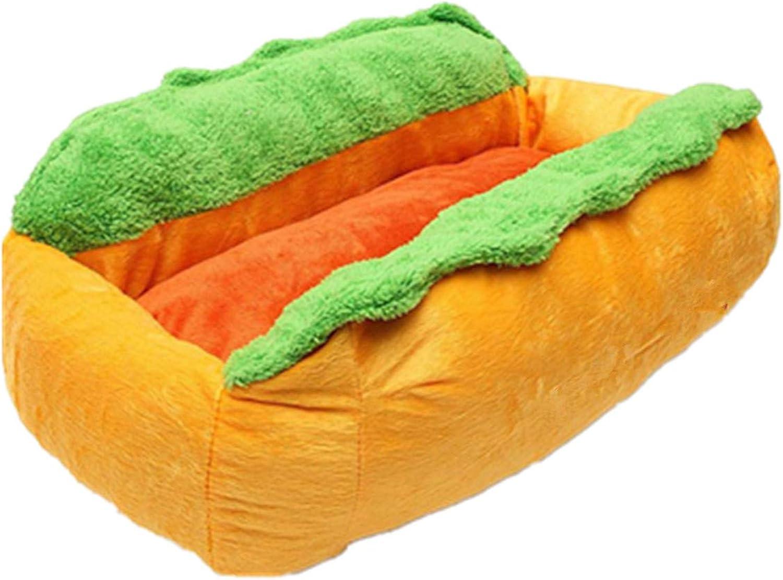 Pet House Warm Sleeping Nest Hot Dog Shape Soft Bed Winter Puppy Sofa(Yellow M 63  47  21cm)