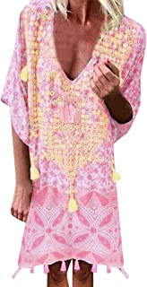2019 Women Vintage Loose Dress Bohemian Print Short Sleeve Above Knee Low Cut Beachwear Mini Dress