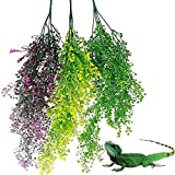 LEPSJGC 3 uds Plantas de Reptiles Colgantes Planta de terrario de plástico con Ventosa para dragón Barbudo Lagarto Gecko Tanque de Serpiente decoración de hábitat