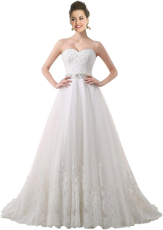 BessWedding Women's Lace Wedding Dresses LaceUp Bridal Dresses with Beaded Belt